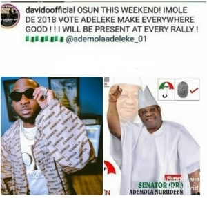 Davido Reveals He Will Be Involved In Campaign Rallies Of Senator Adeleke (Photos)